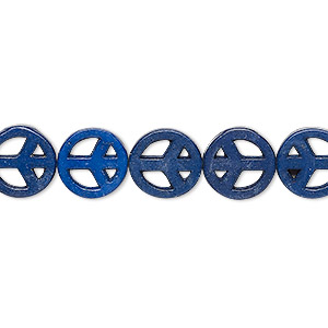 bead, howlite (dyed / imitation), medium to dark lapis blue, 10-11mm peace sign. sold per 15-inch strand.