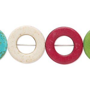 bead, howlite (dyed / imitation), multicolored, 20mm round donut, 10mm center hole. sold per 15-inch strand.