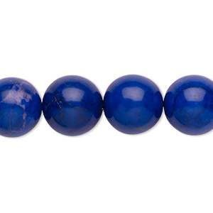 bead, howlite (dyed), lapis blue, 12mm round, b grade, mohs hardness 3 to 3-1/2. sold per 16-inch strand.