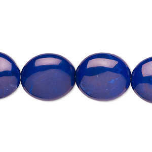 bead, howlite (dyed), lapis blue, 16x14mm flat oval, b grade, mohs hardness 3 to 3-1/2. sold per 16-inch strand.