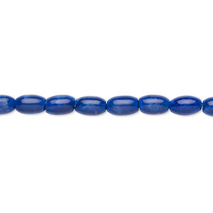 bead, howlite (dyed), lapis blue, 6x4mm oval, b grade, mohs hardness 3 to 3-1/2. sold per 16-inch strand.