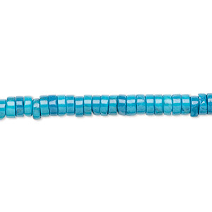 bead, howlite (dyed), turquoise blue, 4x2mm heishi, b grade, mohs hardness 3 to 3-1/2. sold per 16-inch strand.