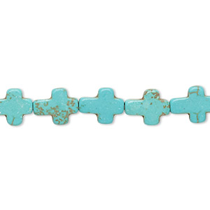 bead, howlite (imitation), aqua blue, 10x8mm-11x9mm cross. sold per 15-inch strand.