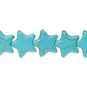 bead, howlite (imitation), aqua blue, 15x14mm flat star. sold per 15-inch strand.