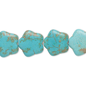 bead, howlite (imitation), aqua blue, 15x15mm flat star. sold per 15-inch strand.