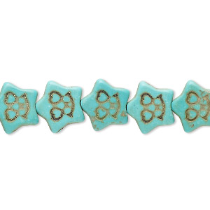 bead, howlite (imitation), aqua green, 12x11mm carved flat star. sold per 15-inch strand.