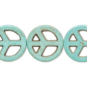 bead, howlite (imitation), aqua green, 20mm peace sign. sold per 15-inch strand.