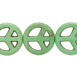 bead, howlite (imitation), green, 20mm peace sign. sold per 15-inch strand.