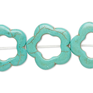 bead, howlite (imitation), light teal green, 23x23mm-24x24mm open flower, 10.5mm center hole. sold per 15-inch strand.