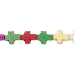 bead, howlite (imitation), multicolored, 10x8mm-10x9mm cross. sold per 15-inch strand.