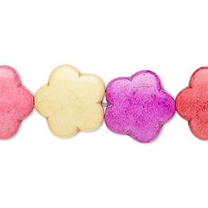 bead, howlite (imitation), multicolored, 15-16mm puffed flower. sold per 15-inch strand.