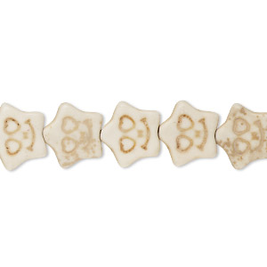 bead, howlite (imitation), white, 12x11mm carved flat star. sold per 15-inch strand.