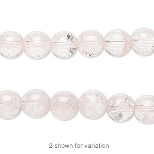 bead, ice flake quartz (dyed / heated), pink, 8mm round, b grade, mohs hardness 7. sold per 16-inch strand.