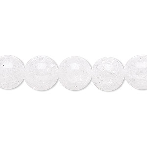 bead, ice flake quartz (heated), 10mm round, b grade, mohs hardness 7. sold per 16-inch strand.