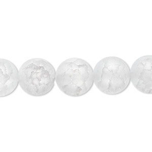 bead, ice flake quartz (heated), 12mm frosted round, b grade, mohs hardness 7. sold per 16-inch strand.