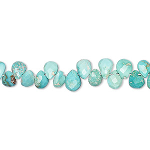bead, imperial crown turquoise (natural), 5x4mm-7x5mm hand-cut top-drilled faceted puffed teardrop, c grade, mohs hardness 5 to 6. sold per 8-inch strand.