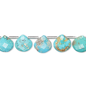 bead, imperial crown turquoise (natural), 7x7mm-9x9mm hand-cut top-drilled faceted puffed teardrop, c grade, mohs hardness 5 to 6. sold per pkg of 20 beads.