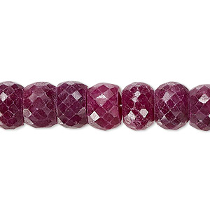 FD-177 Natural Ruby Faceted Handmade Rondelle Shape European Charms Beads-Big Hole Beads 8x14mm 5 Pieces