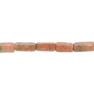 bead, indian unakite (natural), 7x3mm-12x4mm hand-cut square tube, b- grade, mohs hardness 6 to 7. sold per 12-inch strand.