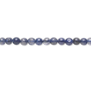 bead, iolite (dyed), 4mm hand-cut round, c grade, mohs hardness 7 to 7-1/2. sold per 16-inch strand.
