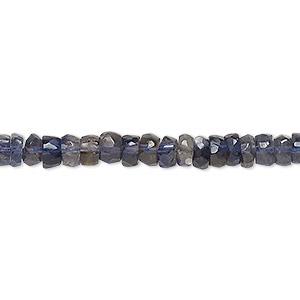 bead, iolite (dyed), 5x2mm-6x3mm hand-cut faceted rondelle, b grade, mohs hardness 7 to 7-1/2. sold per 16-inch strand.