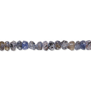 bead, iolite (dyed), 5x2mm-7x5mm hand-cut tumbled faceted rondelle, d grade, mohs hardness 7 to 7-1/2. sold per 13-inch strand.