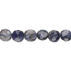 bead, iolite (dyed), 7mm hand-cut faceted puffed round, c grade, mohs hardness 7 to 7-1/2. sold per 16-inch strand.