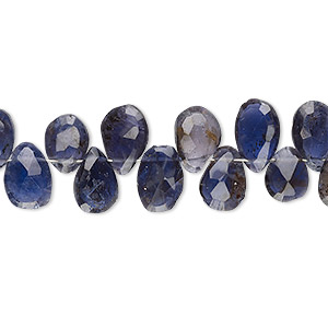 bead, iolite (dyed), 7x6mm-9x7mm hand-cut top-drilled faceted puffed teardrop, c grade, mohs hardness 7 to 7-1/2. sold per 4-inch strand.
