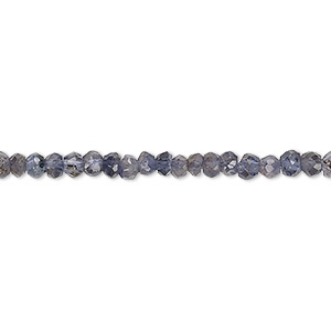 bead, iolite (natural), 3x2mm-4x3mm hand-cut faceted rondelle, c grade, mohs hardness 7 to 7-1/2. sold per 13-inch strand.