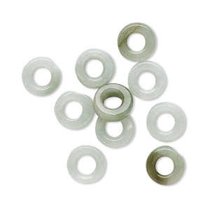 bead, jadeite (natural), 8x3mm hand-cut rondelle, c grade, mohs hardness 6-1/2 to 7. sold per pkg of 10.