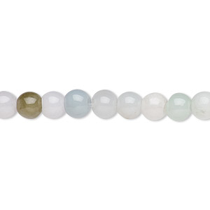 bead, jadeite (natural), white and green, 6mm round with 0.5-1.5mm hole, c grade, mohs hardness 6-1/2 to 7. sold per 16-inch strand.