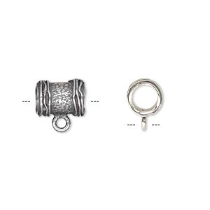 bead, jbb findings, antique silver-plated brass, 10x7.5mm textured round tube with ribbed ends and loop, 5mm hole. sold per pkg of 2.