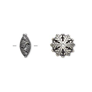 bead, jbb findings, antique silver-plated brass, 11.5x5mm snowflake rondelle. sold per pkg of 2.