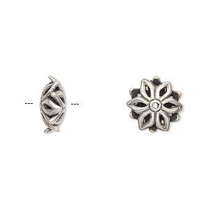 bead, jbb findings, antiqued silver-plated brass, 12x5mm flower rondelle. sold per pkg of 2.