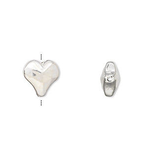 bead, jbb findings, sterling silver, electroformed, 12x11.5mm heart. sold per pkg of 3.