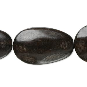 bead, kamagong wood (natural), 30x20mm faceted flat oval. sold per 16-inch strand.