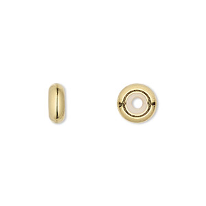 bead keeper, silicone and gold-plated brass, clear, 9x3.5mm rondelle with 2.5mm hole. sold per pkg of 4.