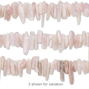 bead, kunzite (natural), large to extra-large hand-cut hawaiian chip, mohs hardness 6-1/2 to 7. sold per 16-inch strand.