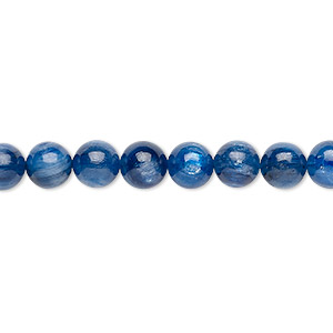 bead, kyanite (natural), 6mm round with 0.5-1.5mm hole, a- grade, mohs hardness 4 to 7-1/2. sold per 16-inch strand.