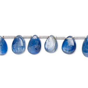 bead, kyanite (natural), 7x4mm-10x6mm hand-cut top-drilled teardrop, b+ grade, mohs hardness 4 to 7-1/2. sold per pkg of 22 beads.