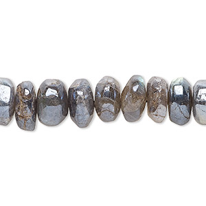 bead, labradorite (coated), 10x3mm-11x8mm hand-cut tumbled faceted rondelle, c grade, mohs hardness 6 to 6-1/2. sold per 15-inch strand.