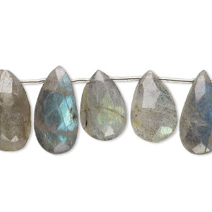 bead, labradorite (natural), 12x7mm-17x9mm hand-cut top-drilled faceted teardrop, b- grade, mohs hardness 6 to 6-1/2. sold per pkg of 12 beads.