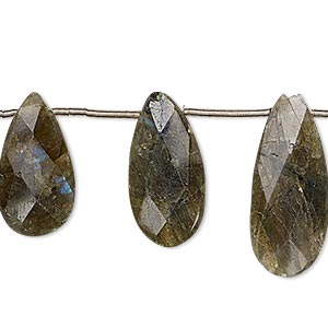 bead, labradorite (natural), 17x8mm-21x12mm hand-cut top-drilled faceted puffed teardrop, c grade, mohs hardness 6 to 6-1/2. sold per pkg of 10 beads.