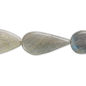 bead, labradorite (natural), 20x13mm-26x16mm hand-cut flat teardrop, b- grade, mohs hardness 6 to 6-1/2. sold per 13-inch strand.