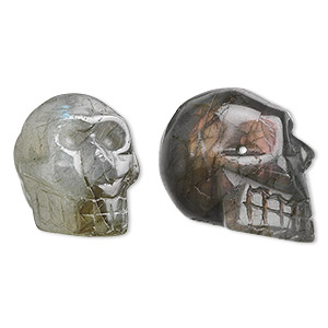 bead, labradorite (natural), 25x21mm skull, b grade, mohs hardness 6 to 6-1/2. sold per pkg of 2.