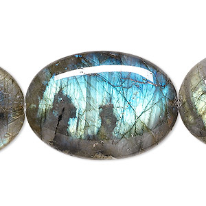 bead, labradorite (natural), 35x25mm flat oval, a- grade, mohs hardness 6 to 6-1/2. sold per 8-inch strand, approximately 5 beads.