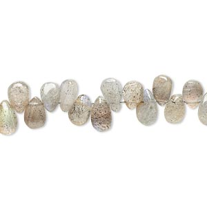 bead, labradorite (natural), 5x3mm-8x5mm hand-cut top-drilled puffed teardrop, c grade, mohs hardness 6 to 6-1/2. sold per 9-inch strand.