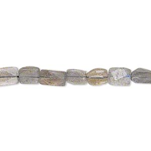 bead, labradorite (natural), 6x4mm-10x6mm hand-cut faceted flat rectangle, c grade, mohs hardness 6 to 6-1/2. sold per 14-inch strand.