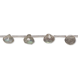 bead, labradorite (natural), 6x4mm-7mm hand-cut top-drilled faceted teardrop, c grade, mohs hardness 6 to 6-1/2. sold per pkg of 16 beads.