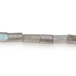 bead, labradorite (natural), 6x5mm-12x6mm hand-cut faceted tube, b- grade, mohs hardness 6 to 6-1/2. sold per 14-inch strand.
